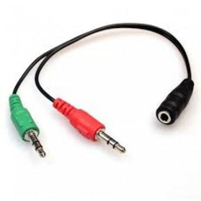 Cabo Adaptador Headset Para Fone, 2 P2 Macho Para 1 P2 Fêmea
